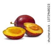plum low poly. fresh ... | Shutterstock .eps vector #1372968023