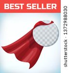 red cape. super hero cloak.... | Shutterstock .eps vector #1372988030