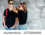 hipster teen girl and boy... | Shutterstock . vector #1373006960