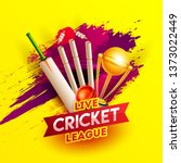 realistic cricket elements on... | Shutterstock .eps vector #1373022449