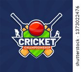 sticker style text cricket... | Shutterstock .eps vector #1373022476