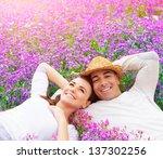 Beautiful Happy Couple Lying...