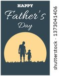 silhouette of father and son ... | Shutterstock .eps vector #1373041406