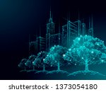 low poly tree park cityscape.... | Shutterstock .eps vector #1373054180