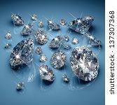 brilliant diamonds on blue... | Shutterstock . vector #137307368
