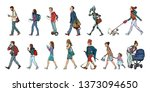 set collection of pedestrians... | Shutterstock . vector #1373094650