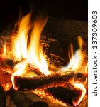 Close Up Image Of Fireplace And ...