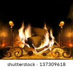 Frontal Image Of Fireplace An...