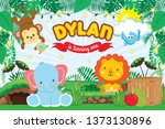 safari forest party backdrop.... | Shutterstock .eps vector #1373130896