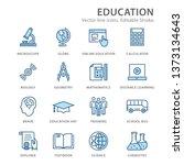 education flat line icons. set... | Shutterstock .eps vector #1373134643