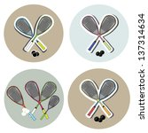 squash rackets and ball vector... | Shutterstock .eps vector #137314634