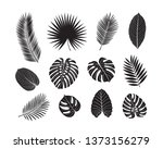 set of tropical leaves.... | Shutterstock .eps vector #1373156279