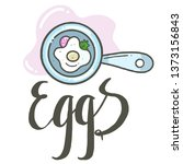 eggs with vegetables in a... | Shutterstock .eps vector #1373156843