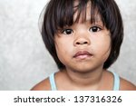 Stock photo young girl in the philippines living in poverty against off white wall 137316326