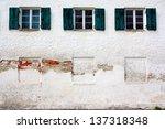 Three Old Windows On Old White...