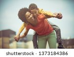 we enjoy it. mother and son... | Shutterstock . vector #1373184386