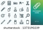 office stationery icons set.... | Shutterstock .eps vector #1373190239