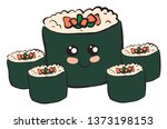 a box of japanese sushi stuffed ... | Shutterstock .eps vector #1373198153