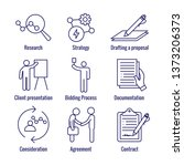 new business process icon set w ... | Shutterstock .eps vector #1373206373