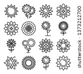 sunflower icons set. outline... | Shutterstock .eps vector #1373212700