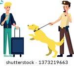 airport policeman dog barking...   Shutterstock .eps vector #1373219663