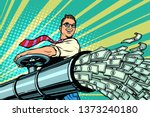 businessman opens pipe  money... | Shutterstock . vector #1373240180