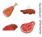 isolated object of meat and ham ... | Shutterstock .eps vector #1373245790