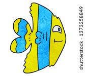 hand drawn quirky cartoon fish    Shutterstock . vector #1373258849