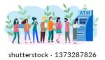 people are waiting in line near ... | Shutterstock .eps vector #1373287826