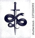 snake and dagger  serpent wraps ...   Shutterstock .eps vector #1373304593