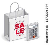 shopping bag with calculator ... | Shutterstock .eps vector #1373306399