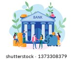 bank building with piggy bank...   Shutterstock .eps vector #1373308379