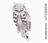 line art zentangle of owl  | Shutterstock .eps vector #1373320559