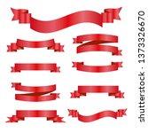 red ribbons set. vector design... | Shutterstock .eps vector #1373326670
