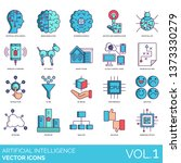 artificial intelligence icons... | Shutterstock .eps vector #1373330279
