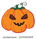 a scary pumpkin with an evil... | Shutterstock .eps vector #1373332499