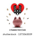 notre dame de paris after fire. ... | Shutterstock .eps vector #1373363039
