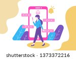 woman walking and chatting flat ... | Shutterstock .eps vector #1373372216