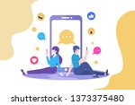 man and woman couple chatting... | Shutterstock .eps vector #1373375480