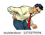 backache low back pain. man... | Shutterstock . vector #1373379596
