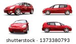 Stock photo set red city car with blank surface for your creative design d rendering 1373380793