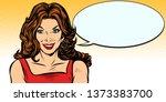 woman comic balloon. pop art... | Shutterstock . vector #1373383700