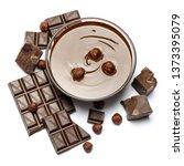 glass bowl of chocolate cream...   Shutterstock . vector #1373395079