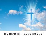 christian cross appears bright...   Shutterstock . vector #1373405873