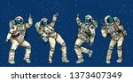 disco party astronauts dancing... | Shutterstock . vector #1373407349