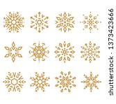 snowflakes gold icon collection.... | Shutterstock . vector #1373423666