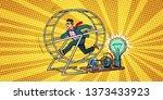 businessman in a squirrel wheel.... | Shutterstock . vector #1373433923