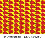 strawberry pattern on a yellow... | Shutterstock .eps vector #1373434250