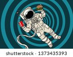 astronaut in zero gravity with... | Shutterstock . vector #1373435393