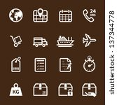 Shipping Icons and Logistics Icons with Brown Background - stock vector